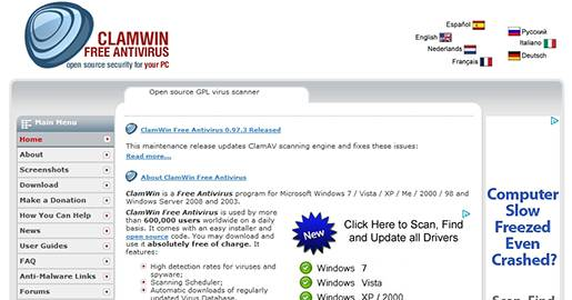 ClamWin Free Antivirus for Windows. Open source GPL virus scanner.