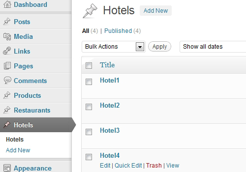Created 4 posts for the Custom Content Type named 'Hotels'.