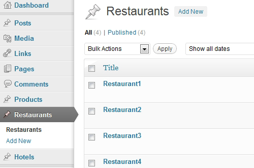 Created 4 posts for the Custom Content Type named 'Restaurants'.