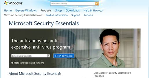Microsoft Security Essentials - The anti-annoying, anti-expensive, anti-virus program.