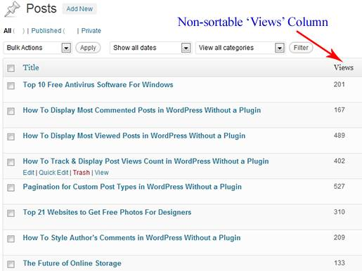 WordPress dashboard: Non Sorted Views Column for Posts.