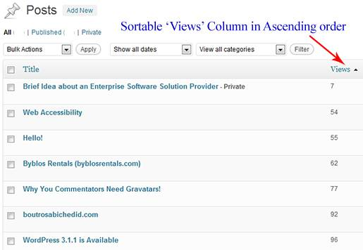 WordPress dashboard: Sorting Views Column for Posts in Ascending order.
