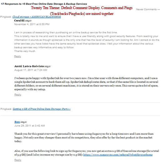 Twenty Ten Theme for this Blog: When using Default Comments template.