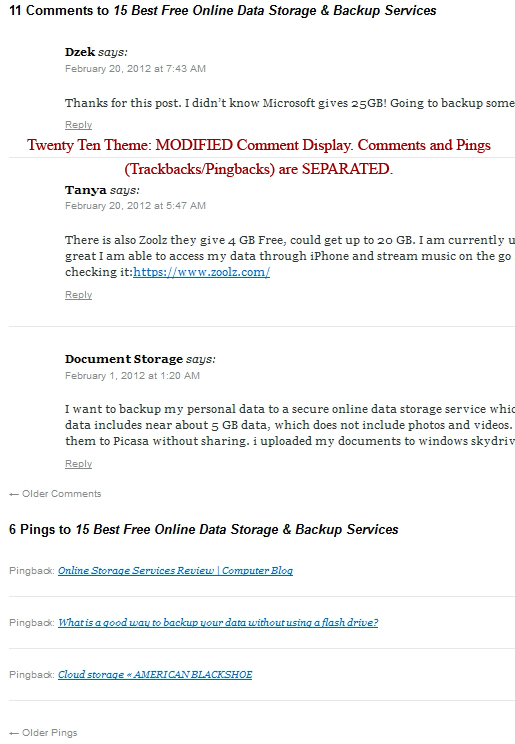 Twenty Ten theme: Modified comments Section. Separating Comments from Pings and Using Default Navigation.