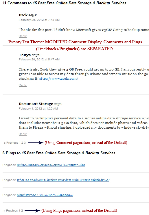 Twenty Ten Theme: Modified Comments Section. Separate Comments from Pings. Also using Numbered Pagination for Comments.
