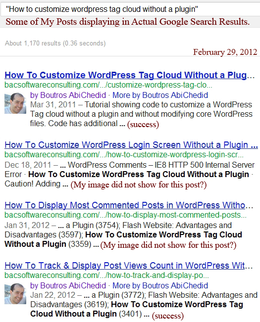 Image2. Actual Google Search Results: My Google+ Image/Info shows up in some posts but NOT others.