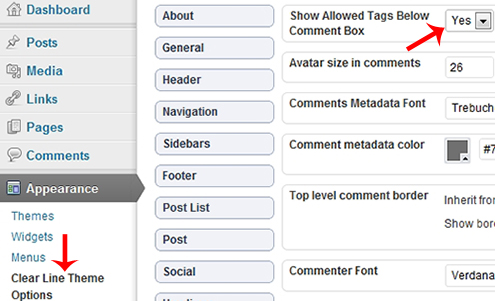 Clear Line theme: Show allowed HTML tags and attributes below comment box.