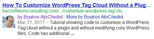 One of my Posts displayed in Actual Google Search results. With Google Authorship.
