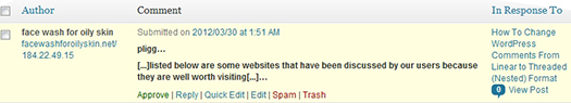 Boutros AbiChedid Blog. Spam trackback as it shows in the Comments section in WordPress dashboard.