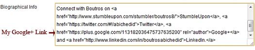 WordPress dashboard. User Biographical Info