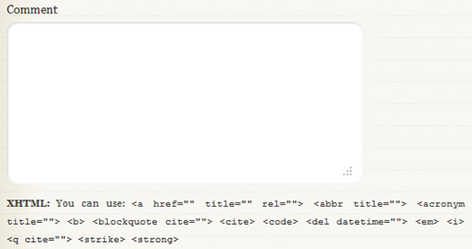 Add Notice for Comments: Allowed default HTML Tags and attributes.