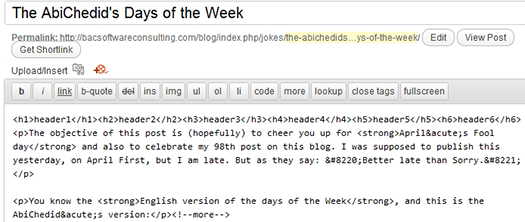 A sample WordPress Post as shown in the dashboard with header tags inserted.