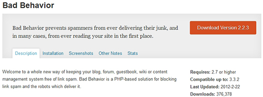 Bad Behavior. WordPress Plugin.