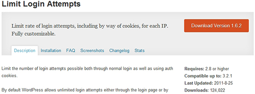 Limit Login Attempts. WordPress Plugin.