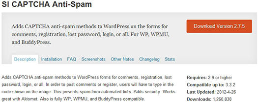 SI CAPTCHA Anti-Spam. WordPress Plugin.