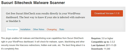 Sucuri Sitecheck Malware Scanner. WordPress Plugin.