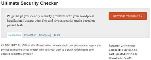 Ultimate Security Checker. WordPress Plugin.