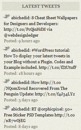 Result of CODE-1 modified with timeline format: Display Latest tweets on Your WordPress Blog in a timeline format.