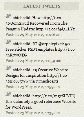 Result of CODE-1: Display Latest tweets on Your WordPress Blog without a plugin.