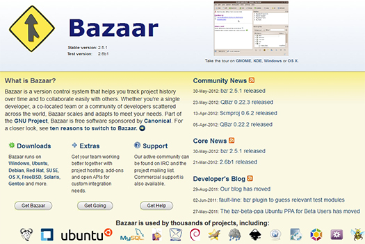 Bazaar - Version Control System.