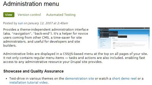 Administration menu module.