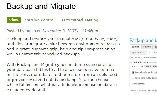 Backup and Migrate module.