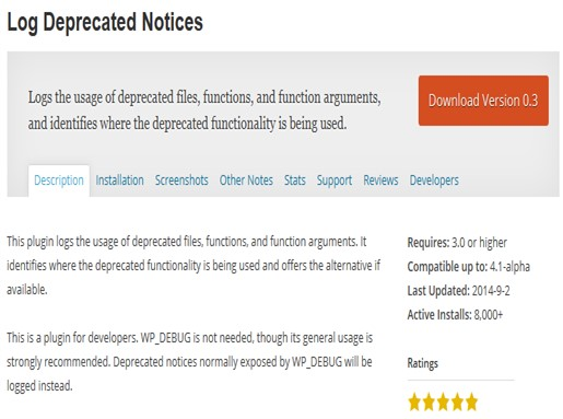 Log Deprecated Notices - WordPress Plugin
