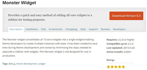 Monster Widget - WordPress Plugin.