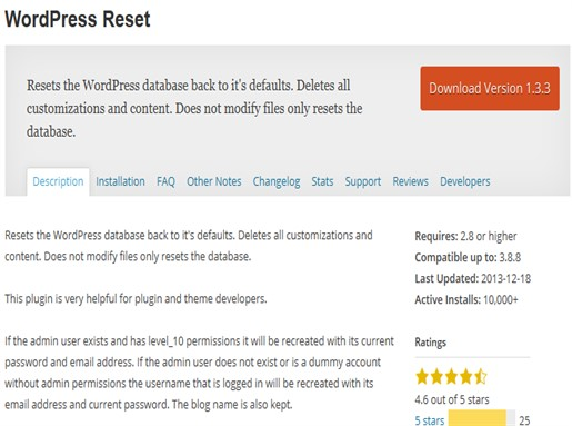 WordPress Reset - WordPress Plugin.