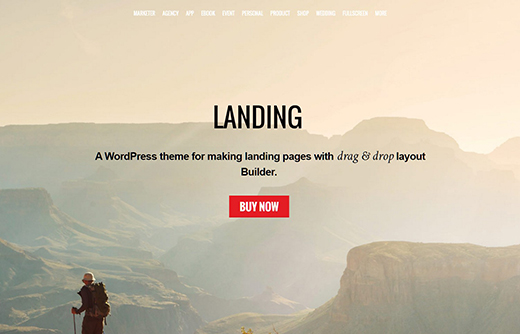 Landing - A WordPress theme for making landing pages with drag & drop layout Builder.