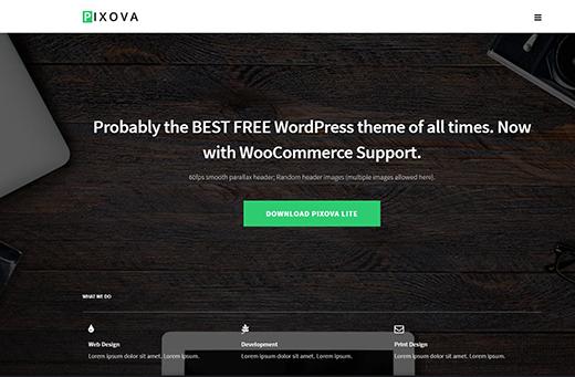 Pixova Lite - Free Parallax WordPress Theme.