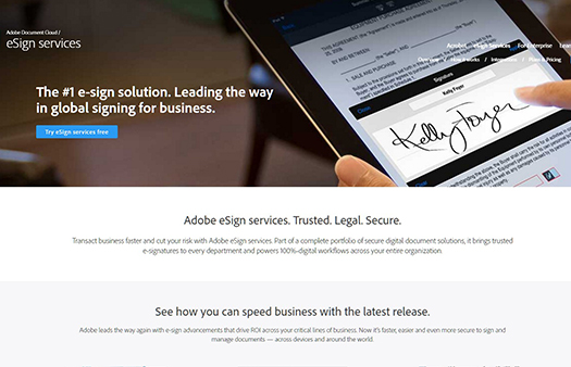 eSign service, e-signatures online, formerly EchoSign.