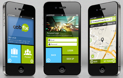 Mobile App Design. Image credit: CabFix App @ 4dprime.com/cabfix.