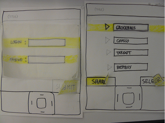 Paper Prototype of Mobile Application.