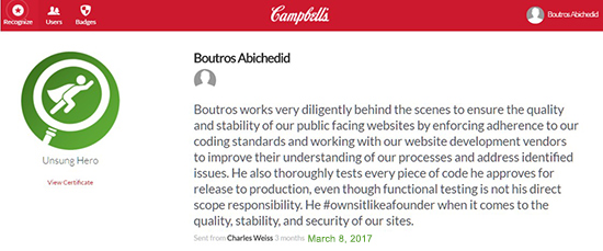 Unsung Hero for Boutros AbiChedid by Charles Weiss at CSC